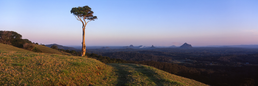 Glasshouse Mountains on Fire