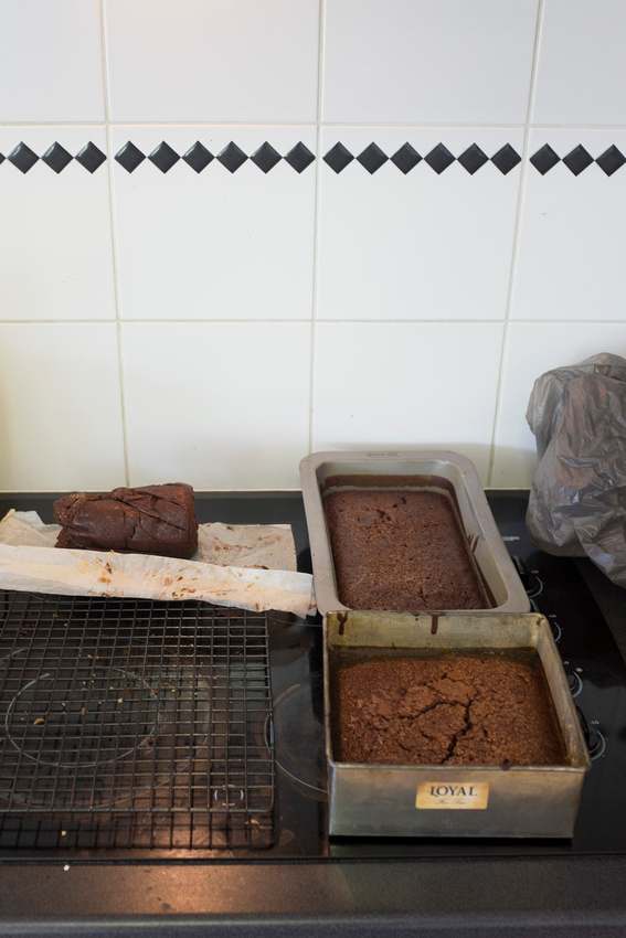 Here are the cakes cooling
