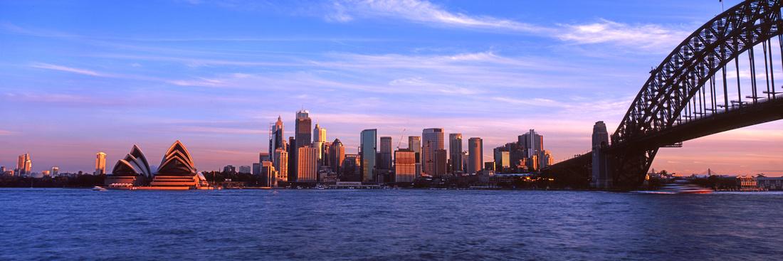 Sydney City in sunset light